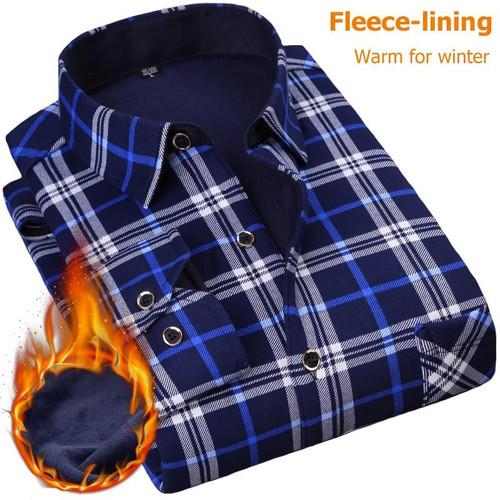 NIGRITY 2019 Autumn Winter Men's Long Sleeve Plaid warm Thick Fleece lining Shirt fashion soft Casual flannel plus size L-4XL - Joelinks store