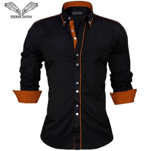 VISADA JAUNA Men Shirts Europe Size New Arrivals Slim Fit Male Shirt Solid Long Sleeve British Style Cotton Men's Shirt N332 - Joelinks store