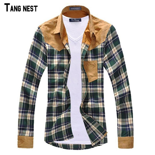 TANGNEST Men Shirt Vintage Hot-selling Men's Fashion Plaid Splicing Shirt Male Casual Long-sleeved Shirt High Quality MCL090 - Joelinks store