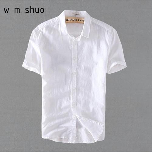 5XL Men Cotton Linen Short Sleeve Casuals Shirts 2018 Summer Plus Size White Shirt Y006 - Joelinks store