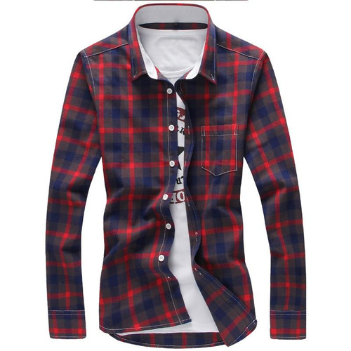 5XL Plaid Shirts Men Checkered Shirt Brand 2018 New Fashion Button Down Long Sleeve Casual Shirts Plus Size Drop Shipping - Joelinks store
