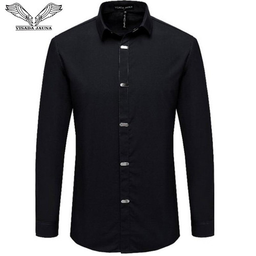 VISADA JAUNA Men's Shirts 2019 Autumn New Arrival British Style Casual Long Sleeve Solid Male Business Slim Fit Shirt 4XL N511 - Joelinks store