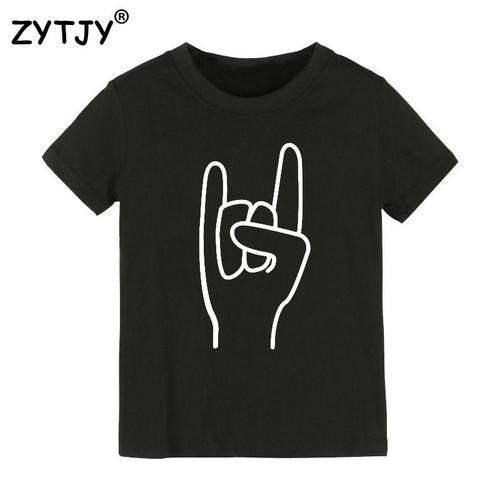 ROCKER HAND Print Kids tshirt Boy Girl t shirt For Children Toddler Clothes Funny Top Tees Drop Ship Y-41 - Joelinks store
