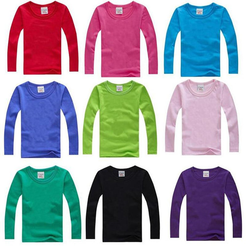 Boys Long Sleeve T Shirts For Children 2019 Autumn pure color T-shirt Cotton 1 -15T Kids Clothing Baby Girls Tops Tees Clothes - Joelinks store