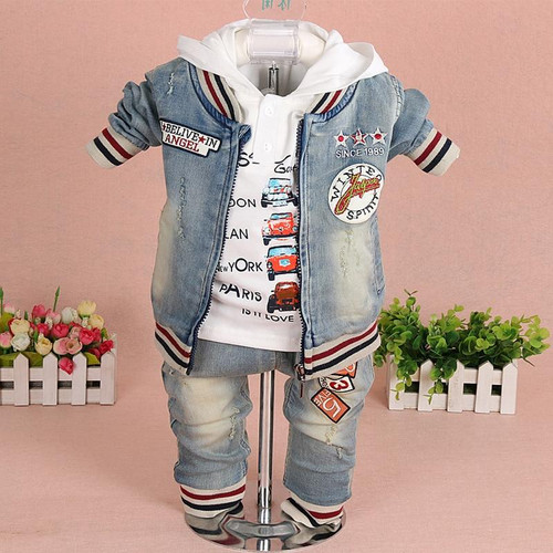 Baby Boy Demin Clothes Sets Baby Clothing 3PCS Fashion High Qulity Hooded Set For Boy Outfit Toddler Infant Suit 0 2 3  Years - Joelinks store