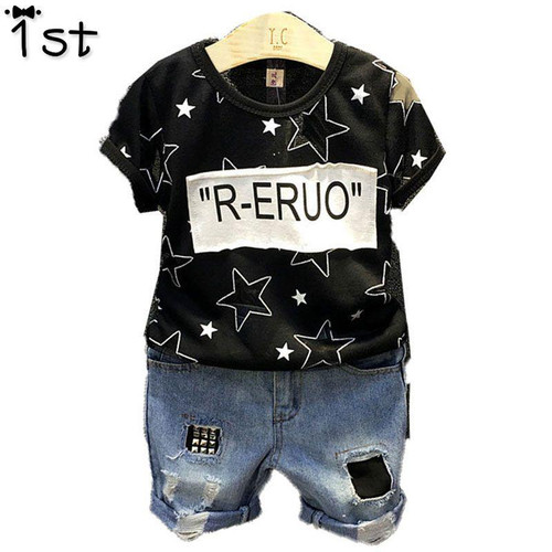 1st  Children 2019 New Korean Boy Short Sleeve T-Shirt Thin Half Sleeve T-Shirt + Denim Shorts Set - Joelinks store