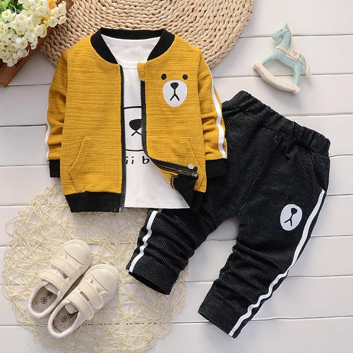 2019 spring New children's clothing Jacket t-shirt and pants 3 pieces Clothing Sets for Boys Cotton Boy's clothes  Kids clothes - Joelinks store