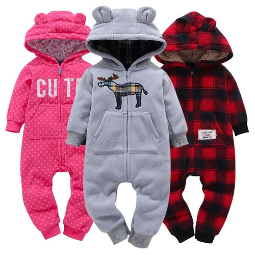 Baby Boy Girl Hooded Thick Rompers Fleece Long Sleeve with Zipper Bodysuit and soft cotton Overalls roupas de bebe Clothing Set - Joelinks store
