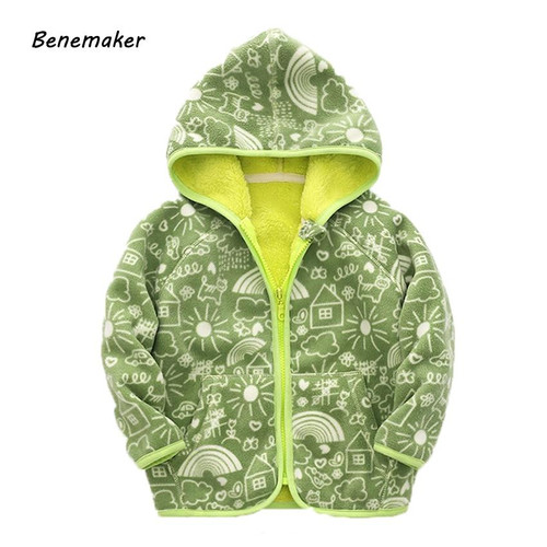 Benemaker Autumn Fleece Jacket For Boys Girl Children's Clothing Hooded Cartoon Outerwear Warm Windbreaker Baby Kids Coats JH030 - Joelinks store