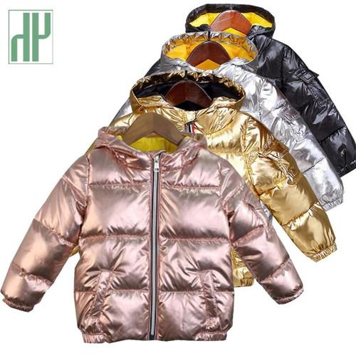 HH coats winter jacket kids down cotton coat Waterproof snowsuit pink Gold silver jacket Hooded parka girls down coats - Joelinks store