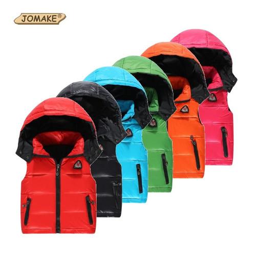 Kids Vest Girl Boy Winter Warm Thicken Vests Baby Duck Down Coat Waistcoat Zipper Hooded Jackets For Girls Boys Children Coats - Joelinks store
