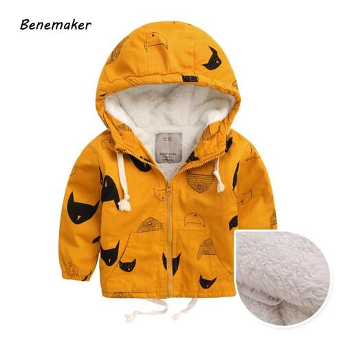 Benemaker Winter Fleece Jackets For Boy Trench Children's Clothing 2-10Y Hooded Warm Outerwear Windbreaker Baby Kids Coats JH019 - Joelinks store