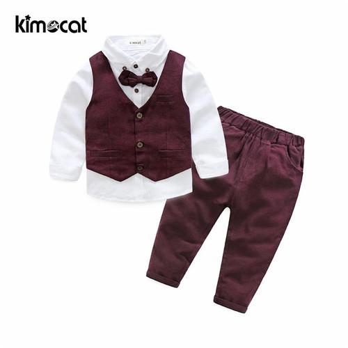 Kimocat Autumn Winter Boys Kids Sets Gentlemen Vest+Shirt+Pants Children's Cotton Clothes Baby Boy Clothing Long Sleeve Suit - Joelinks store