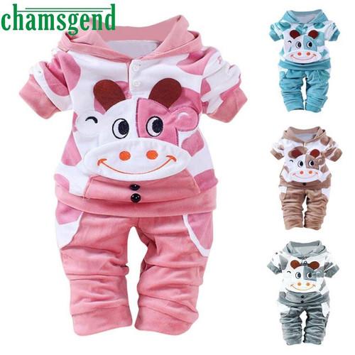 children set clothing Clothing Set Warm Newborn Baby Girls Boys Cartoon Cow Warm Outfits Clothes Velvet Hooded Tops Set P30 db26 - Joelinks store