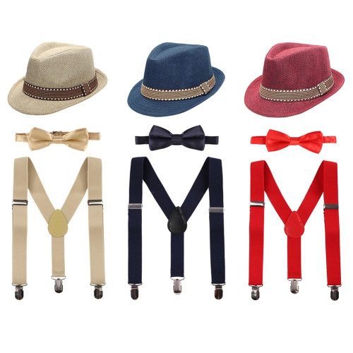 3pcs Set Baby Kid Girl Boy Cake Smash Outfit Formal Fedora Bow Tie & Suspenders Bundle Hat Clothes Birthday Photo Props Outfits - Joelinks store