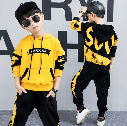 2 Pieces Big Boys clothing set cotton Fashion long sleeves hoodies + Haren Pants Yellow Black outfits For 6 8 10 12 14 Years - Joelinks store
