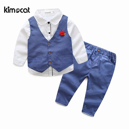 Kimocat Spring and Autumn New Fashion 3pcs Waistcoat+Shirt+Pants Boy Kids Children's Set Long Sleeve Vest Gentleman Boys Clothes - Joelinks store