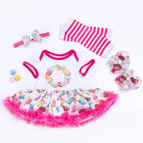 Baby Girl Clothes Macaron Prints Romper Outfits Infant Clothing Sets Romper Tutu Dress+Headband+Leg Warmer+Shoes Kids clothing - Joelinks store