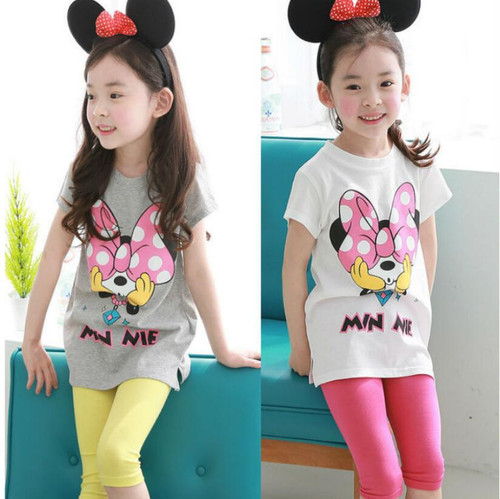 Summer Baby Girls Mouse Cartoon Minnie Clothes Set Suit Children Clothing Short Sleeve T-shirt Pants Headband Tracksuits Clothes - Joelinks store