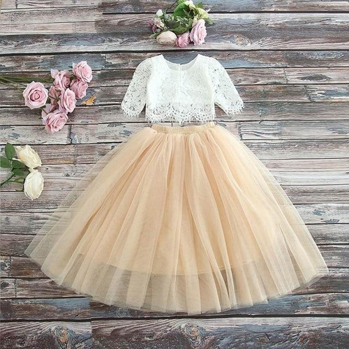 2019 Spring Summer Set Clothing for Girls Half Sleeve Lace Top+Champagne Pink Long Skirt Kids Clothes 2-11T E17121 - Joelinks store