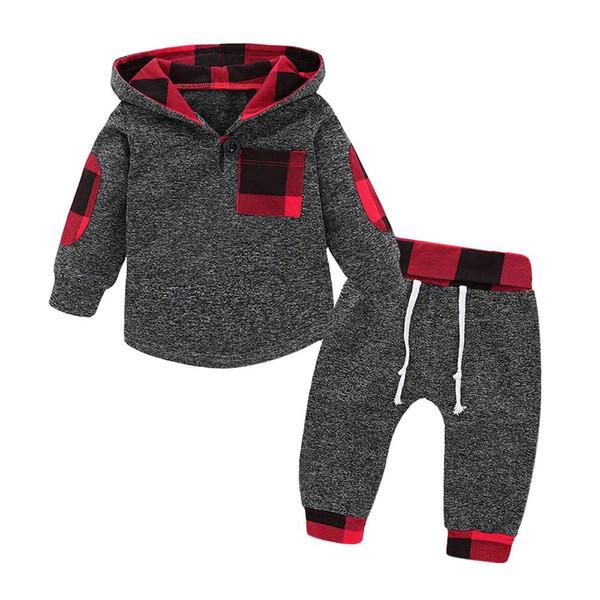 2019 Autumn Winter Fashion Baby Girl  Boy Hoodies Toddler Plaid Hooded Tops Long Pants Outfits Set Newborn Kids Set 2pcs #IS - Joelinks store