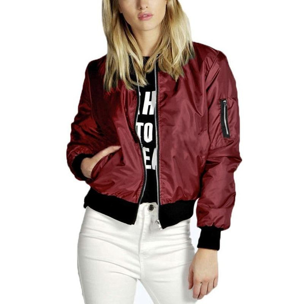 Spring Autumn Women Lady Thin Jackets Fashion Basic Bomber Jacket Long Sleeve Coat Casual Stand Collar Thin Slim Fit Outerwear - Joelinks store