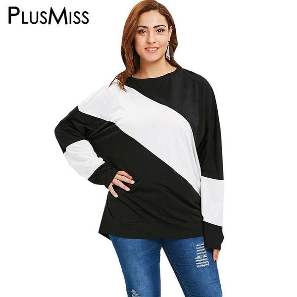PlusMiss Plus Size 4XL-XL White Black Patchwork Loose Casual T Shirts Women Autumn 2018 Long Sleeve Tops Tees Female Big Size - Joelinks store