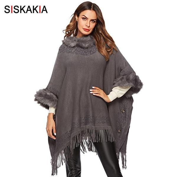 Siskakia Plus Size Women Coat Autumn 2019 Thick Cloak Tops Outwear Fashion Faux fur Collar Tassel Patchwork Knitted Coat Winter - Joelinks store