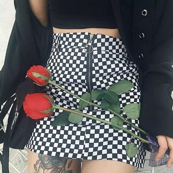 Wipalo checkerboard high waist skirt 2019 summer sexy mini skirt zipper unif checkered skirts womens short bottom saia gothic - Joelinks store