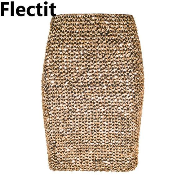 Flectit Womens Skirts Gold Sequined Mini Skirt Bodycon Pencil Skirt Short Wrap Skirt for Office Lady Party Girl Saia - Joelinks store