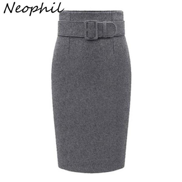 Neophil 2019 Winter Gray Thick Wool Midi Pencil Skirts Plus Size Women Casual Slim High Waist Belt Office Work Wear Saias S1205 - Joelinks store