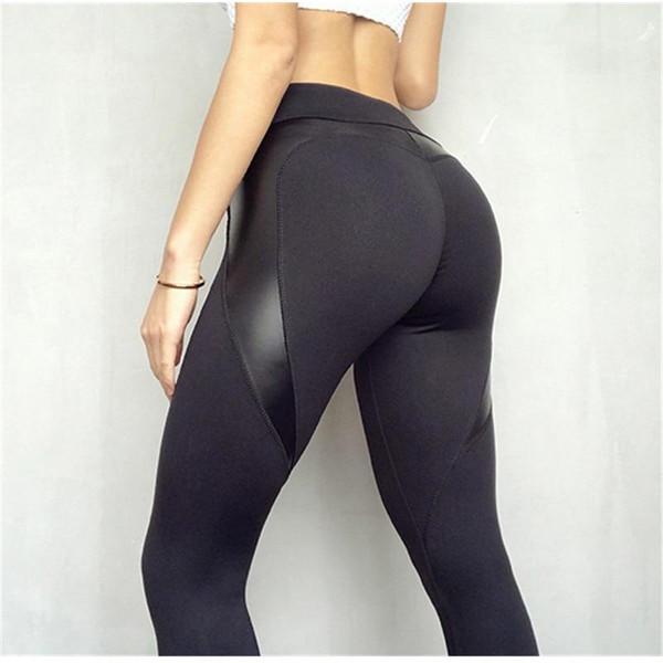 SVOKOR Fitness Leggings Leather Leggings Women High Waist Black Heart Pants Keep Slim Fashion Push Up leggins  gothic Christmas - Joelinks store