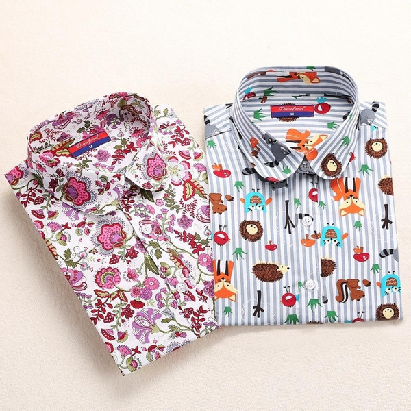 Dioufond Cotton Print Women Blouses Shirts School Work Office Tops Ladies Casual Cherry Long Sleeve Shirt Women Fashion Clothing - Joelinks store