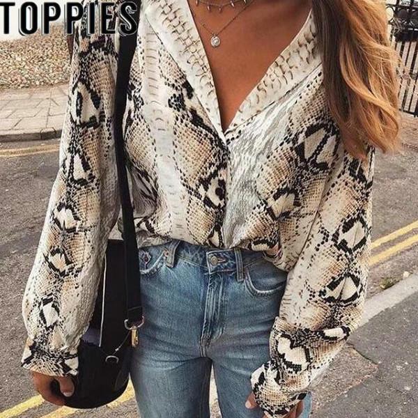 2019 Autumn New Women Snake Print Blouse Long Sleeves Turn-down Collar Snakeskin Shirts High Street Women Fall Fashion Tops - Joelinks store