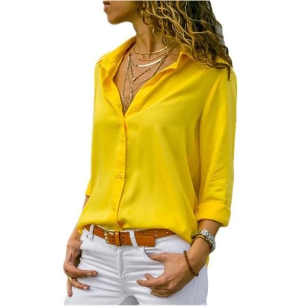 Lossky Women Tops Blouses 2019 Autumn Elegant Long Sleeve Solid V-Neck Chiffon Blouse Female Work Wear Shirts Blouse Plus Size - Joelinks store