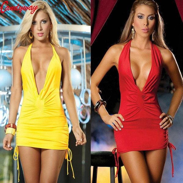 6 colors sexy nightclub dress hot selling sexy costume v deep backless NEW club wear Halter style Sling Backless - Joelinks store