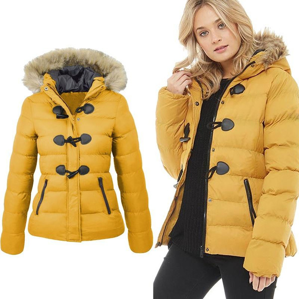 ZOGAA Women Parka Winter 2019 Snow Coat Women Casual Fur Collar Horn Buckle Slim Oversize Female Jacket Overcoat Warm Parkas - Joelinks store