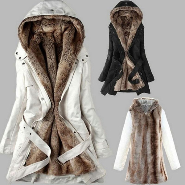 Winter Warm Thick Faux fur lining women's fur Hoodies winter warm long fur inside coat jacket cotton clothes thermal parkas - Joelinks store