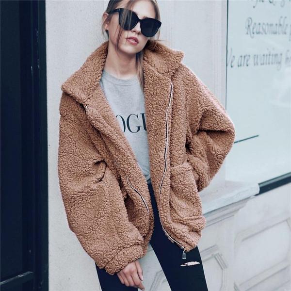 Elegant Faux Fur Coat Women 2019 Autumn Winter Thick Warm Soft Fleece Jacket Pocket Zipper Outerwear Overcoat Bear Teddy coat - Joelinks store