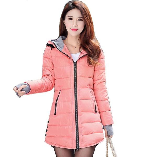 2019 women winter hooded warm coat plus size candy color cotton padded jacket female long parka womens wadded jaqueta feminina - Joelinks store
