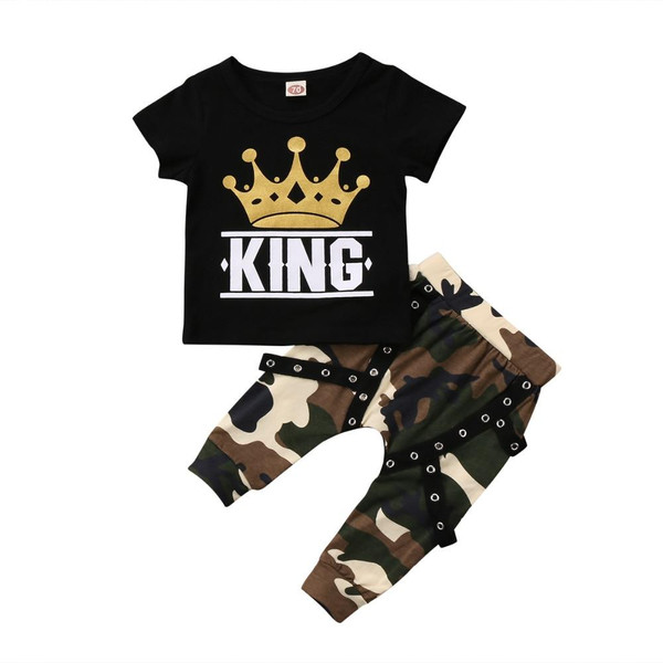 2 pieces Kid Short sleeve King Print T shirt Top and Camouflage Pants Set For Toddler and Baby Boys Clothes - Joelinks store