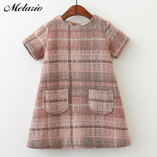 Melario Girls Dress 2019 New Brand Girls Clothes European And America Style Kids Clothes Plaid Pocket Design Baby Girls Dress - Joelinks store