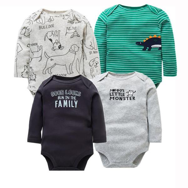 4 PCS/LOT Newborn Baby Clothing 2019 New Fashion Baby Boys Girls Clothes 100% Cotton Baby Bodysuit Long Sleeve Infant Jumpsuit - Joelinks store