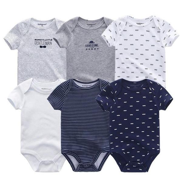 6 PCS/lot newborn baby bodysuits short sleevele baby clothes O-neck 0-12M baby Jumpsuit 100%Cotton baby clothing Infant sets - Joelinks store
