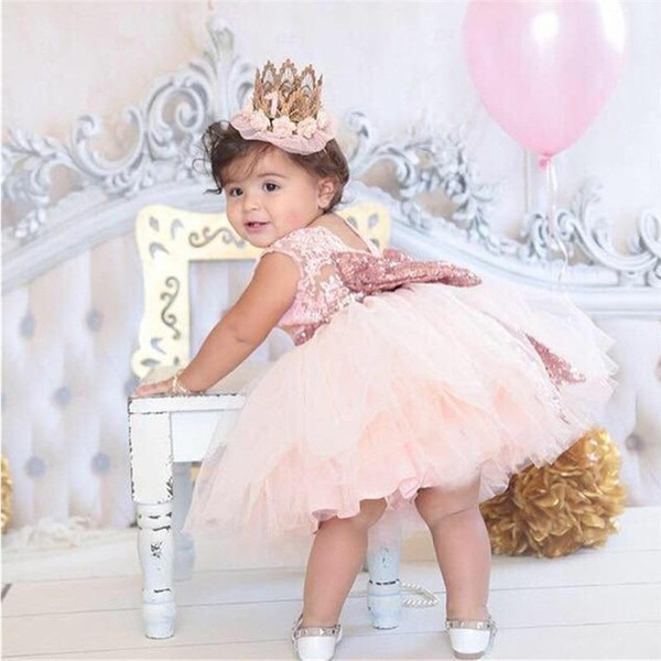 Princess Girl wear Sleeveless Bow Dress for 1 year birthday party Toddler Costume Summer for Events Occasion vestidos infant - Joelinks store