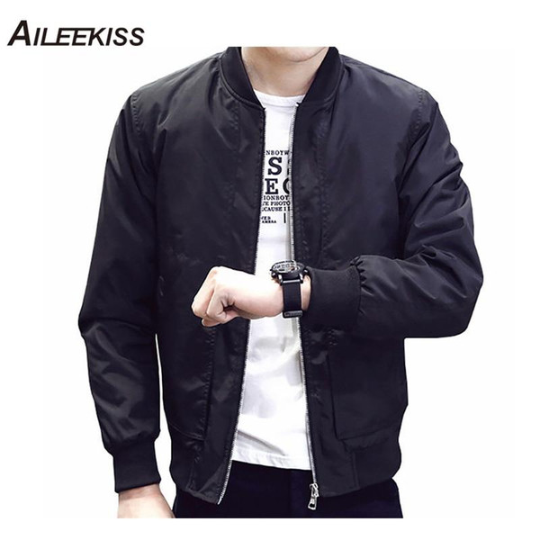 2019 Spring Autumn Casual Solid Fashion Slim Bomber Jacket Men Overcoat Baseball Jackets Men's streetwear Jacket 4xl Top XT380 - Joelinks store