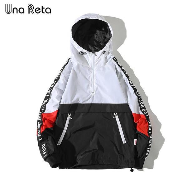 Una Reta Hooded Jackets Men 2019 New Patchwork Color Block Pullover Jacket Fashion Tracksuit Casual Coat Men Hip Hop Streetwear - Joelinks store