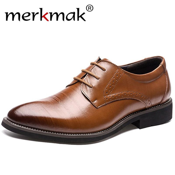 2019 New High Quality Genuine Leather Men Brogues Shoes Lace-Up Bullock Business Dress Men Oxfords Shoes Male Formal Shoes - Joelinks store