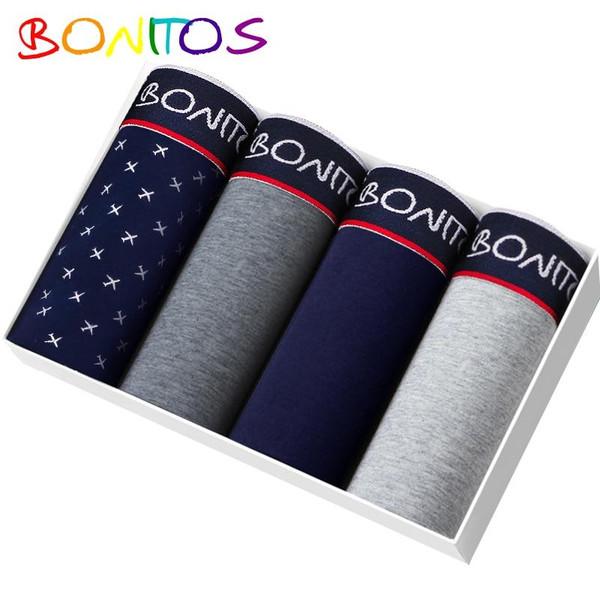 BONITOS Boxer 4pcs/pack Underpants Men Underwear Soft Cotton Calvin Boxer Shorts Sexy under wear Men Panties Calecon Homme Gay - Joelinks store