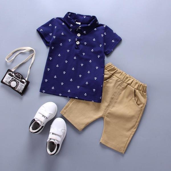 Oklady Boys Clothes Set Summer Baby Cotton Anchor Print Infant Clothing Set Navy Blue White T shirts Shorts 1-5 Years - Joelinks store